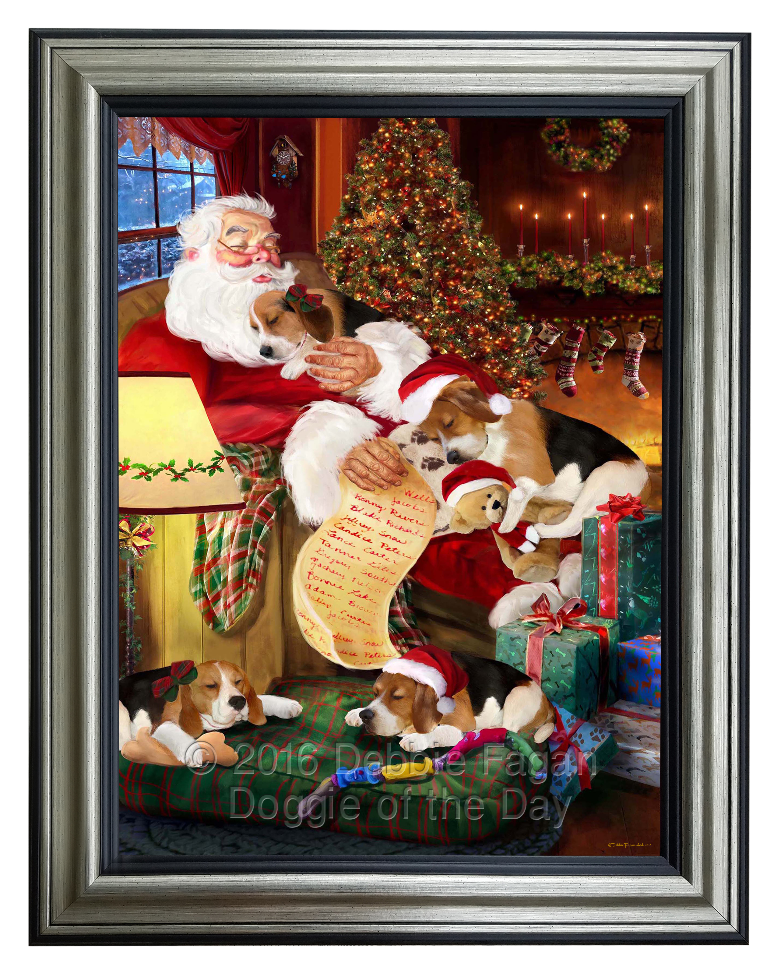 Beagle dog and puppies sleeping with santa framed canvas print prevnext jeuxipadfo Choice Image