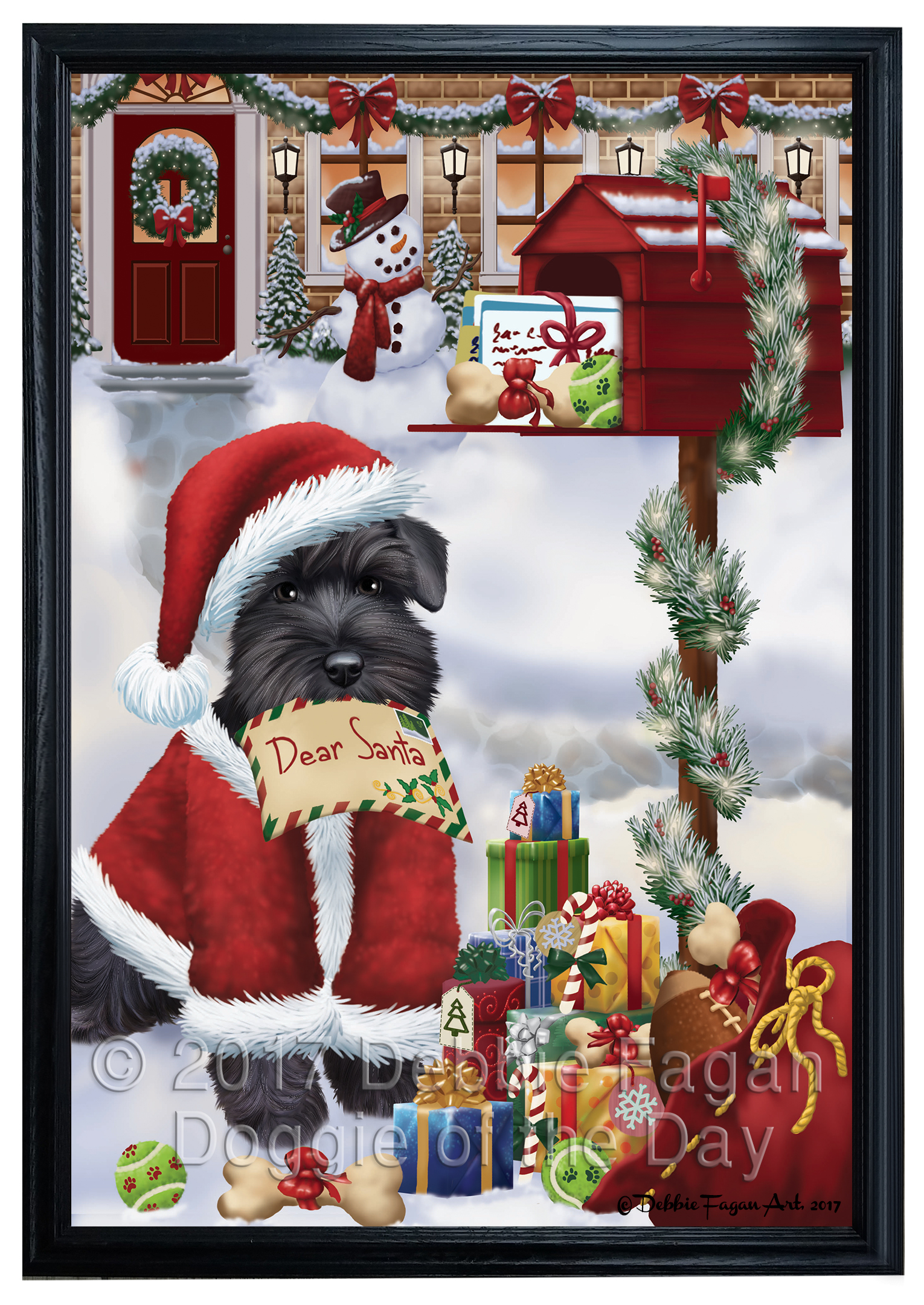 Christmas Letter Schnauzers Dog Framed Canvas Print Wall Art F605