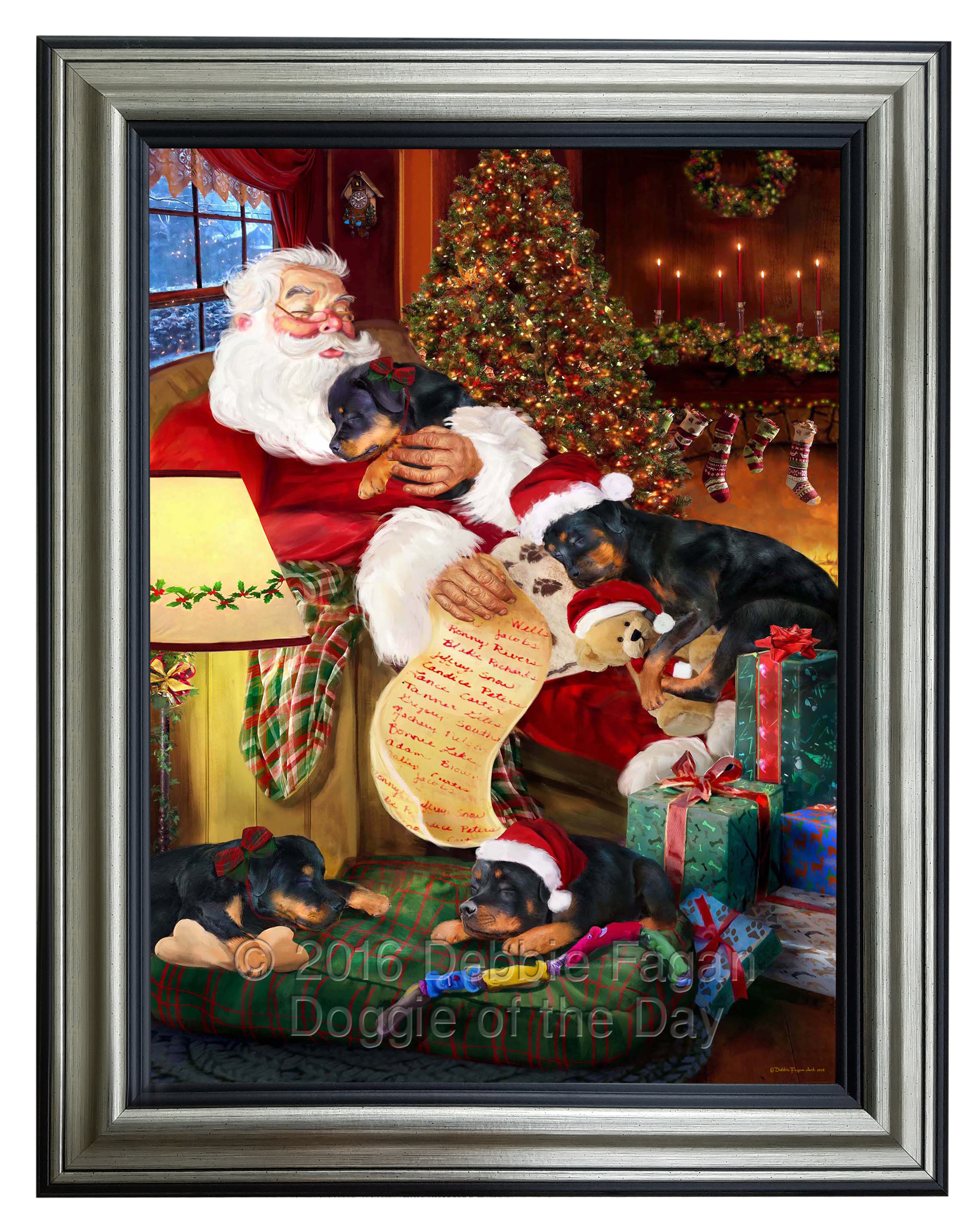 Rottweiler-Dog-and-Puppies-Sleeping-with-Santa-Framed-  sc 1 st  eBay & Rottweiler Dog and Puppies Sleeping with Santa Framed Canvas Print ...