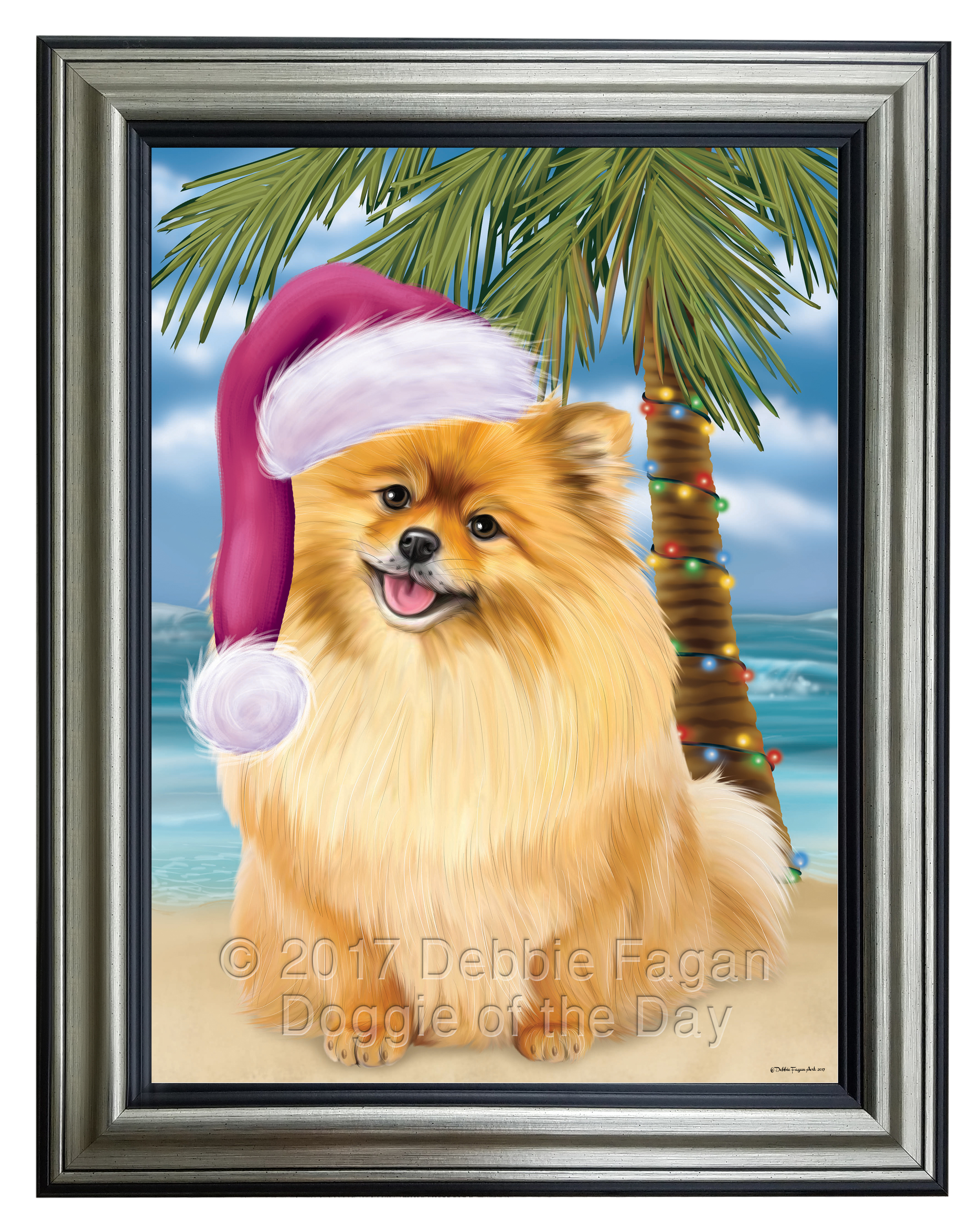 Summertime Happy Holidays Pomeranians Puppy Framed Canvas Print Wall ...
