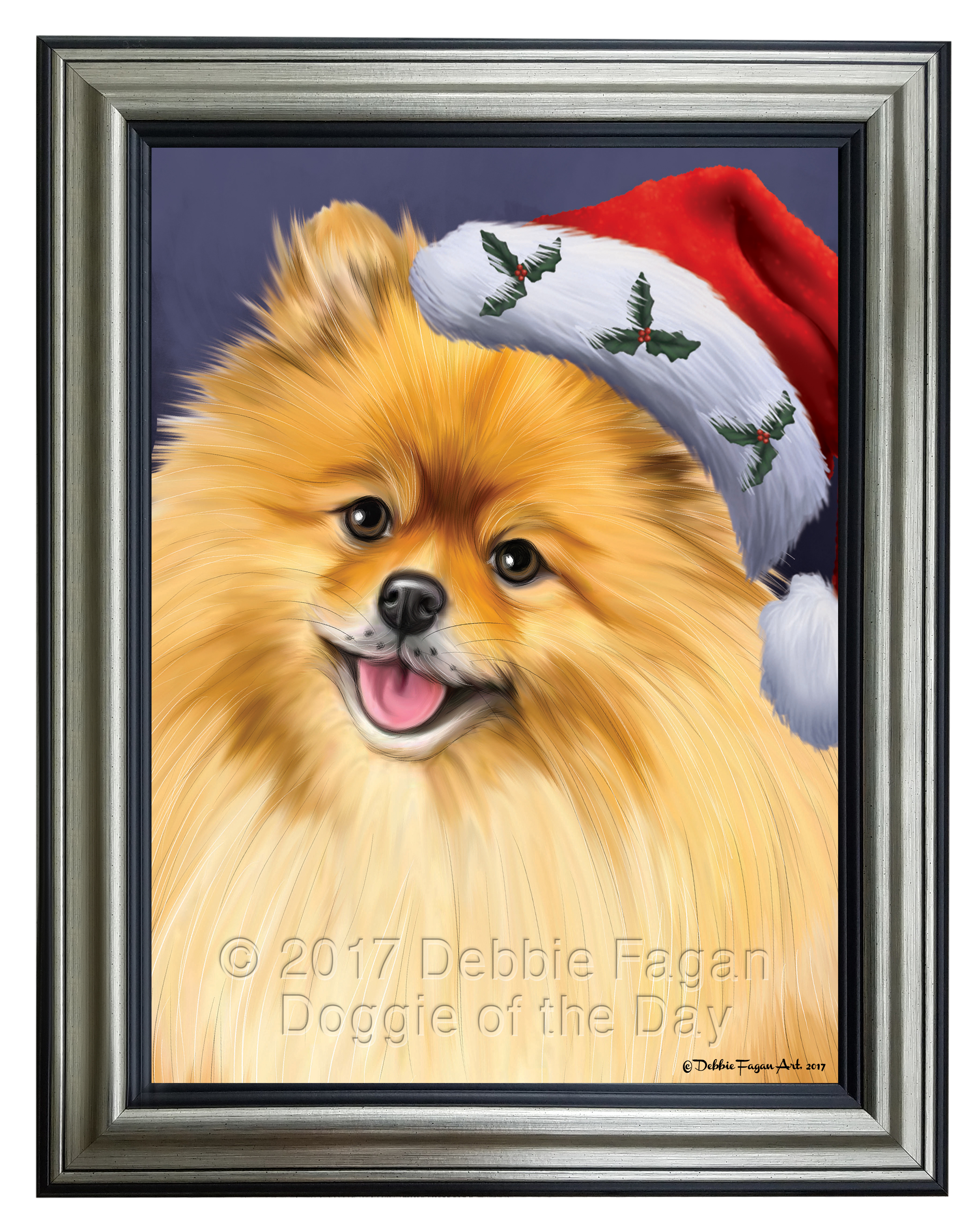 Pomeranians Dog Portrait with Santa Hat Framed Canvas Print Wall Art ...