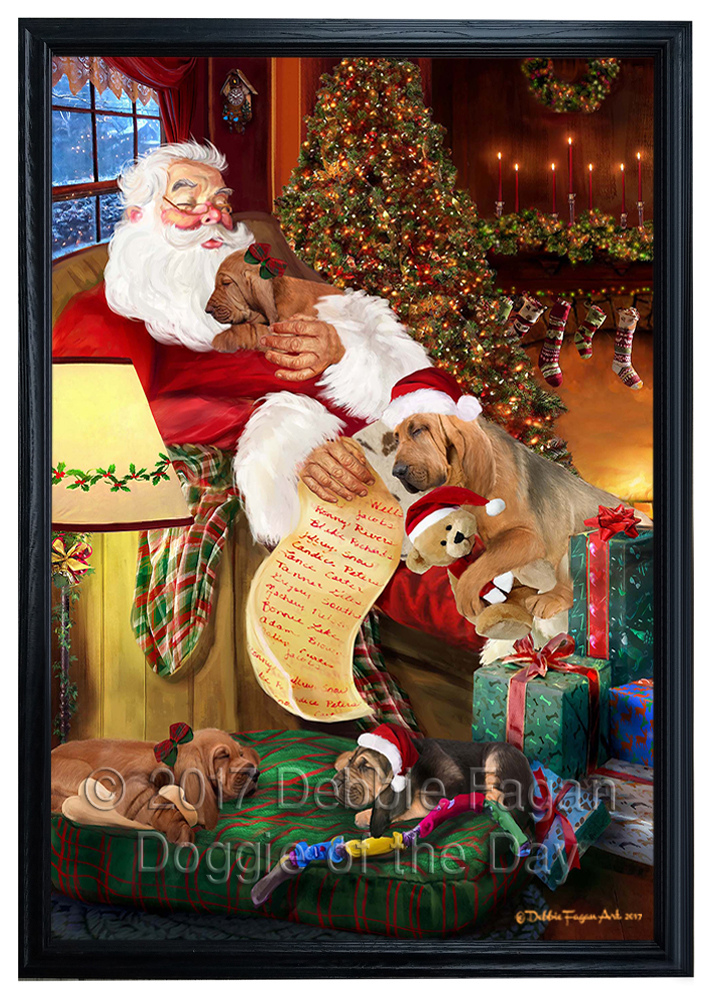 Bloodhound Dog and Puppies Sleeping with Santa Framed Canvas Wall ...